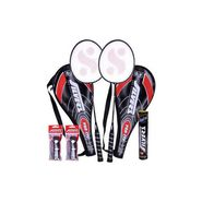 Silver'S Pack Of 2 Badminton Racquet With 3/4Th Cover(Assorted) + 2 Pvc Grip + Box Suzuki Shuttle Cock (Pack Of 10)