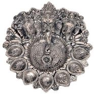 Pretty White Metal God Ganesha Silver Dia Idol 319
