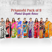Priyanshi Pack of 9 Printed Geogette Sarees (9G5)