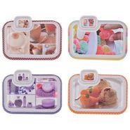Recon Melamine Snacks Plate, Set Of 4, Rectangle Tray Multi-Design