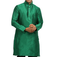 Runako Regular Fit Printed Party Wear Silk Kurta For Men_RK4115 - Green