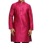 Runako Regular Fit Printed Party Wear Silk Kurta For Men_RK4116 - Pink