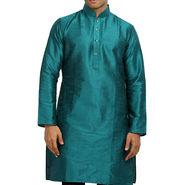 Runako Regular Fit Printed Party Wear Silk Kurta For Men_RK4118 - Blue