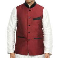 Runako Silk Sleeveless Nehru Jacket_RK4122 - Maroon