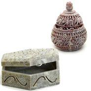 Set of 2 Carved Stone Multiutility Box-SA1407_SA1420