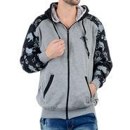 Blended Cotton Full Sleeves Sweatshirt_Swdl23 - Grey & Black