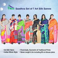 Saadhna Set of 7 Art Silk Sarees by Pakhi (7A11)