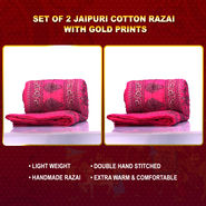 Set of 2 Jaipuri Cotton Razai with Gold Prints