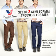Set of 3 Semi Formal Trousers for Men by American Indigo