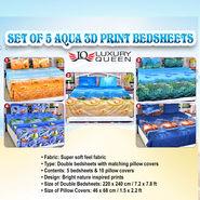 Set of 5 Aqua 3D Print Bedsheets (5BS9)