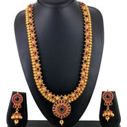 Spargz Kemp Stone Design Necklace Set - Red & Green _ KNS129