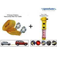 Combo of Speedwav 5 in 1 Car Emergency Tool Kit & Speedwav 3 ton 3 meters Tow Cable