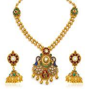 Sukkhi Resplendent Antique Gold Plated Necklace Set - Golden - 2142NKDS4600