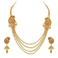 Sukkhi Incredible & Fashionable Gold Plated Necklace Set - Golden - 2160NGLDPV3250