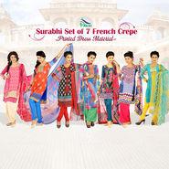 Surabhi Set of 7 French Crepe Printed Dress Material by Pakhi (7FCDM5)