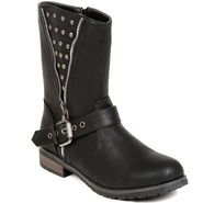 Leather Black Boots For Womens -tb31