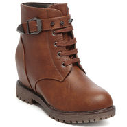 Ten Leather Brown Women Boot -tn01