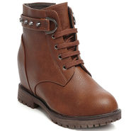 Ten Leather Brown Women Boot -tn04