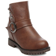 Ten Leather Brown Women Boot -tn05