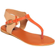 Synthetic Leather Orange Sandals -14Orng01