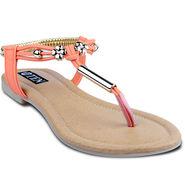 Ten Faux Leather Womes Sandals For Women_tenbl154 - Orange