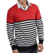 Branded Regular Fit Cotton Sweater_Os07 - Red Black