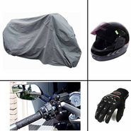 COMBO of Bike Helmet, Bike Cover, Pro Biker Glovesand Blind Spot Mirror