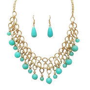 Urthn Antique Necklace Set - Blue - 1102566