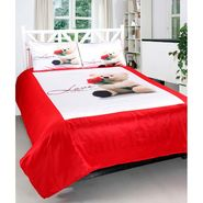 Teddy Love Print Double bedsheet With 2 Pillow Covers-VAL-004