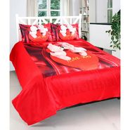 Couple Teddy Print Double bedsheet With 2 Pillow Covers-VAL-005