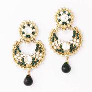 Variation Dark Green Traditional Pair Of Earrings_Vd10682
