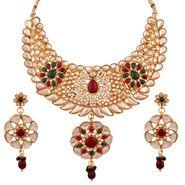 Variation Maroon & Green Kundan Necklace Set_Vd13240