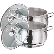 Vinod 202 2pcs Tall Belly Casserole - Silver