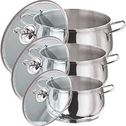 Vinod 202 3pcs Tall Belly Casserole - Silver