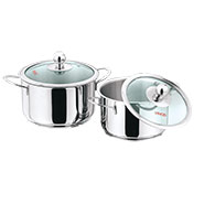 Set of 2 Vinod 202 Induction Friendly Tuscany - Silver