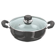 Vinod Black Pearl 200mm Deep Kadai with Tempered Glass Lid - Black