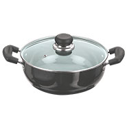 Vinod Black Pearl 260mm Deep Kadai with Tempered Glass Lid - Black