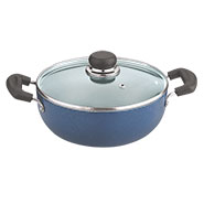 Vinod Zest 260mm Deep Kadai with Tempered Glass Lid - Blue & Black