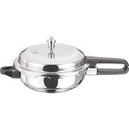 Vinod Induction Friendly SS Sandwich Bottom Pressure Pan With Lid - Silver PPWC - MN