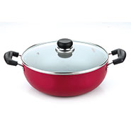 Vinod Zest Induction Friendly 260mm Kadai With Lid - Red & Black