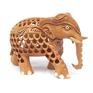 eCraftIndia Wooden Mother Elephant with Baby Elephant - Brown