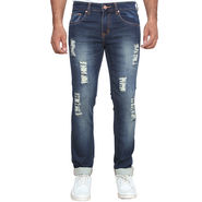 Branded Rugged Slim Fit Stretchable Jeans For Men_Wdb - Dark Blue