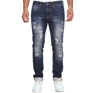 Branded Rugged Slim Fit Stretchable Jeans For Men_Wg - Blue