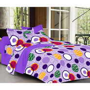 Valtellina Purple Color Geomatrical Design  Double bedsheet With 2 Pillow cover