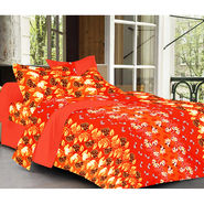 Valtellina Orange Color Florish Design Double bedsheet With 2 Pillow cover