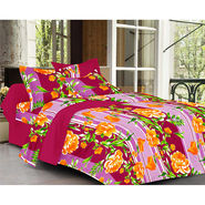 Valtellina Floral Design Purple Color  Stripes Double bedsheet With 2 Pillow cover