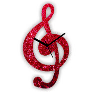 ZEESHAAN GLITTER MUSIC NOTE WALL CLOCK RED