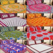 Set of 8 Jaipuri Print 100% Cotton Double Bedsheets with 16 pillow covers-bancom-3