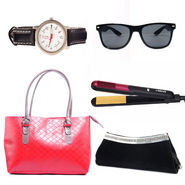 Combo of Ladies Bag + Hair Straightening Iron + Clucth + Watch + Sunglass