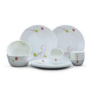 Corelle 21 Pcs Dinner Set India Collection - Royal Sequins - White